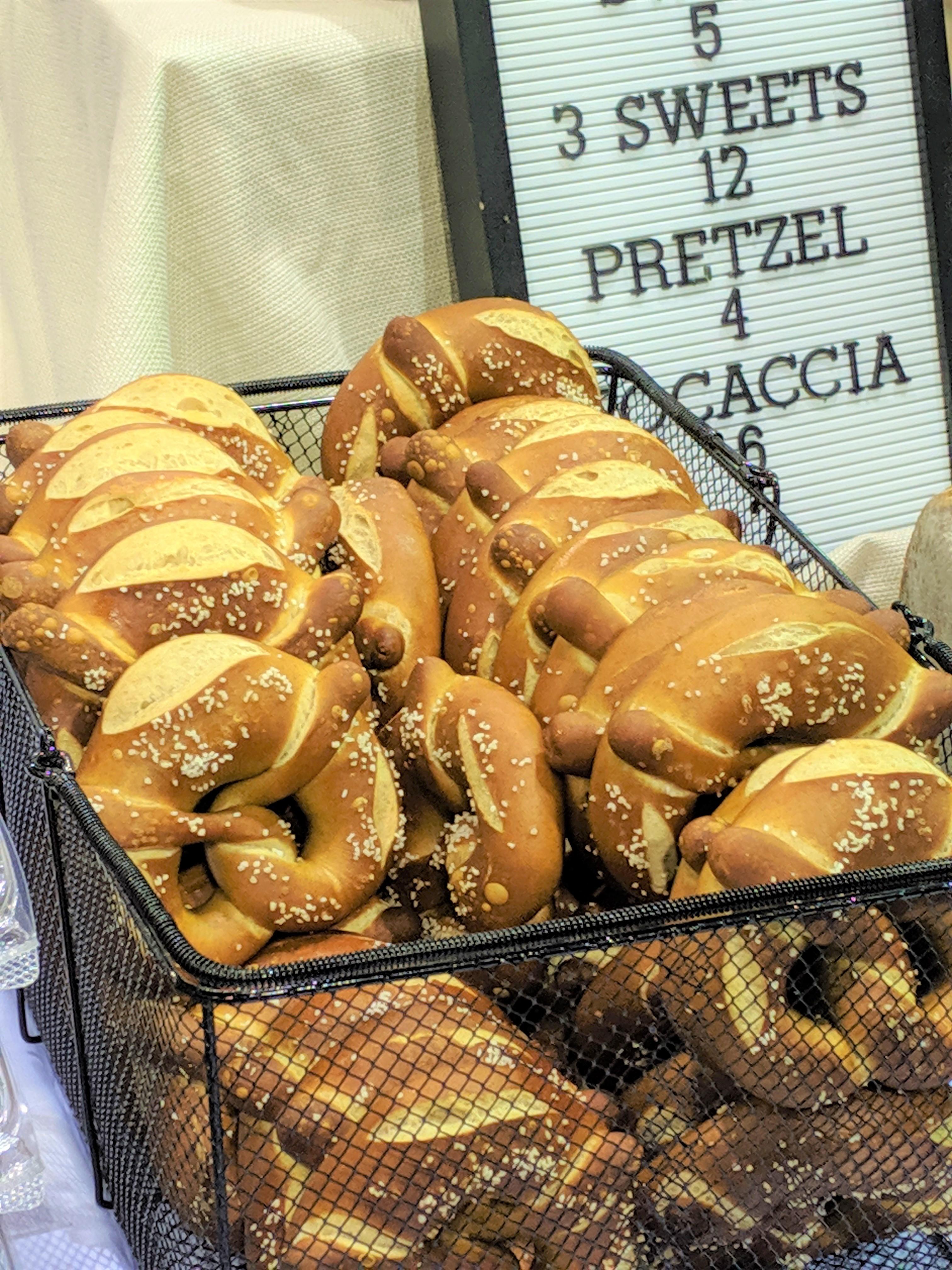 Fresh pretzels from a vendor