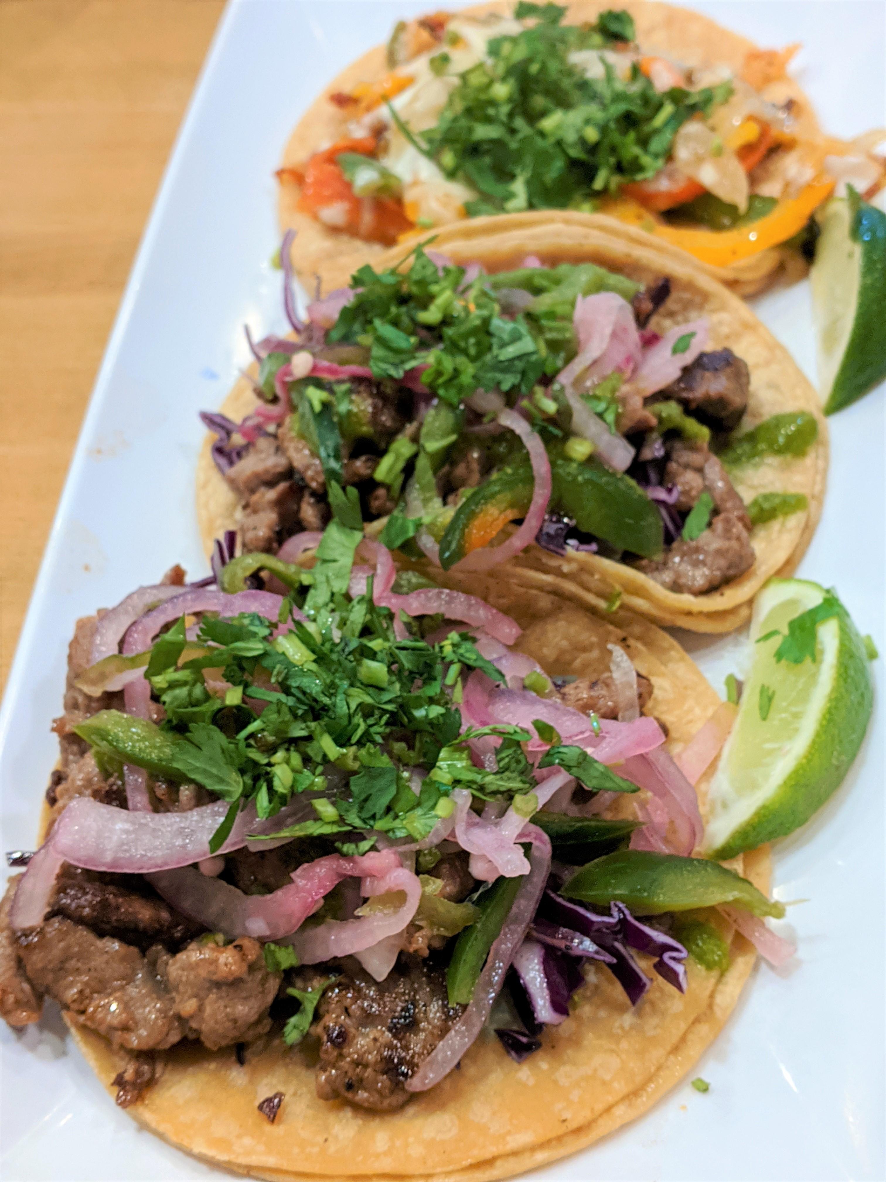 Three tacos from Taco Maya