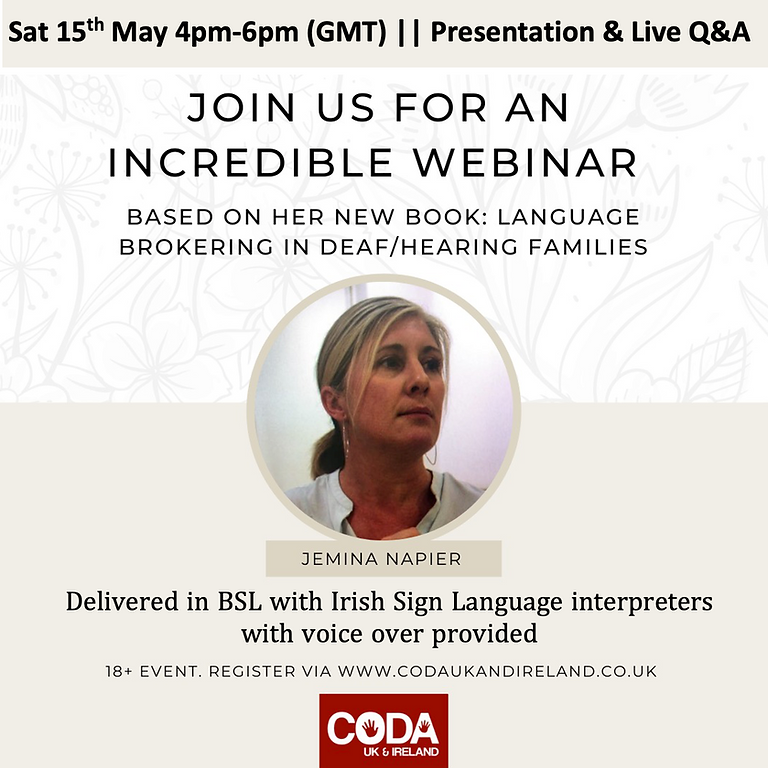 """""""Sign Language Brokering in Deaf-Hearing Families"""", by Prof. Jemina Napier."""