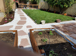 Pathway with new lawn