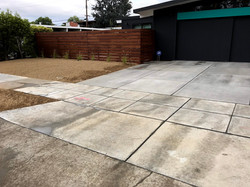 Custom fence, concrete and landscape