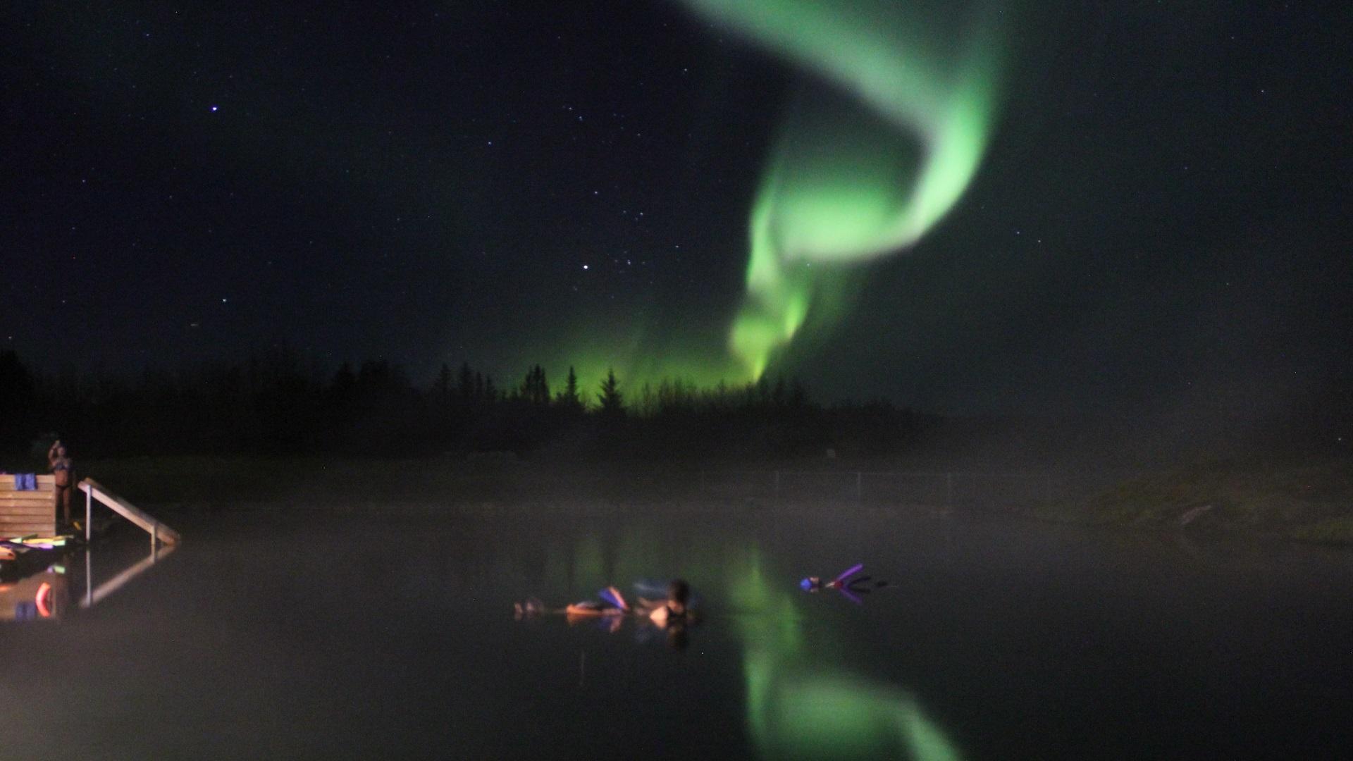 Secret Lagoon and Northern Lights Hu