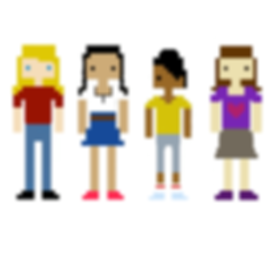 Lady Ada's Secret Society - the four girls animated as pixellated figures.
