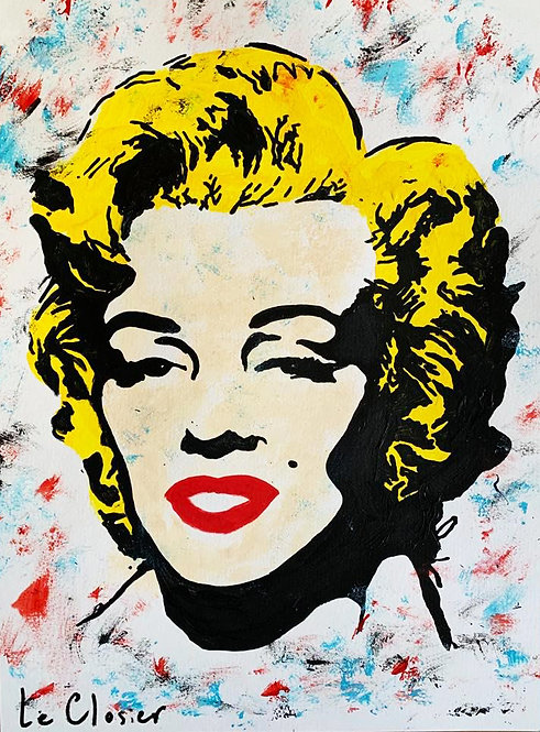 "Marilyn - Original painting on paper - 12""x16"""