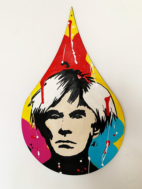 "WARHOL - Original painting on wood drop - 24""x15"""