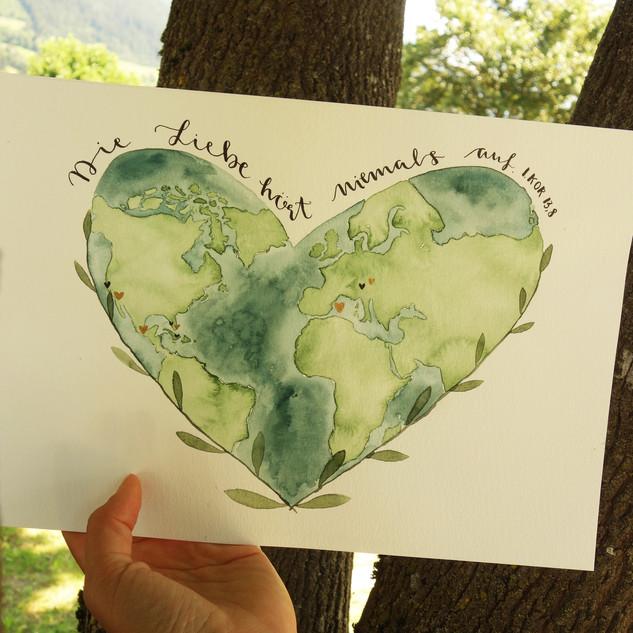 Bild für Hochzeit handgemalt Weltkarte Reisen