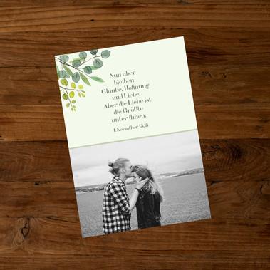 Leaves Hochzeitseinladung hinten
