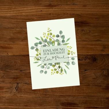 Leaves Hochzeitseinladung Vorne