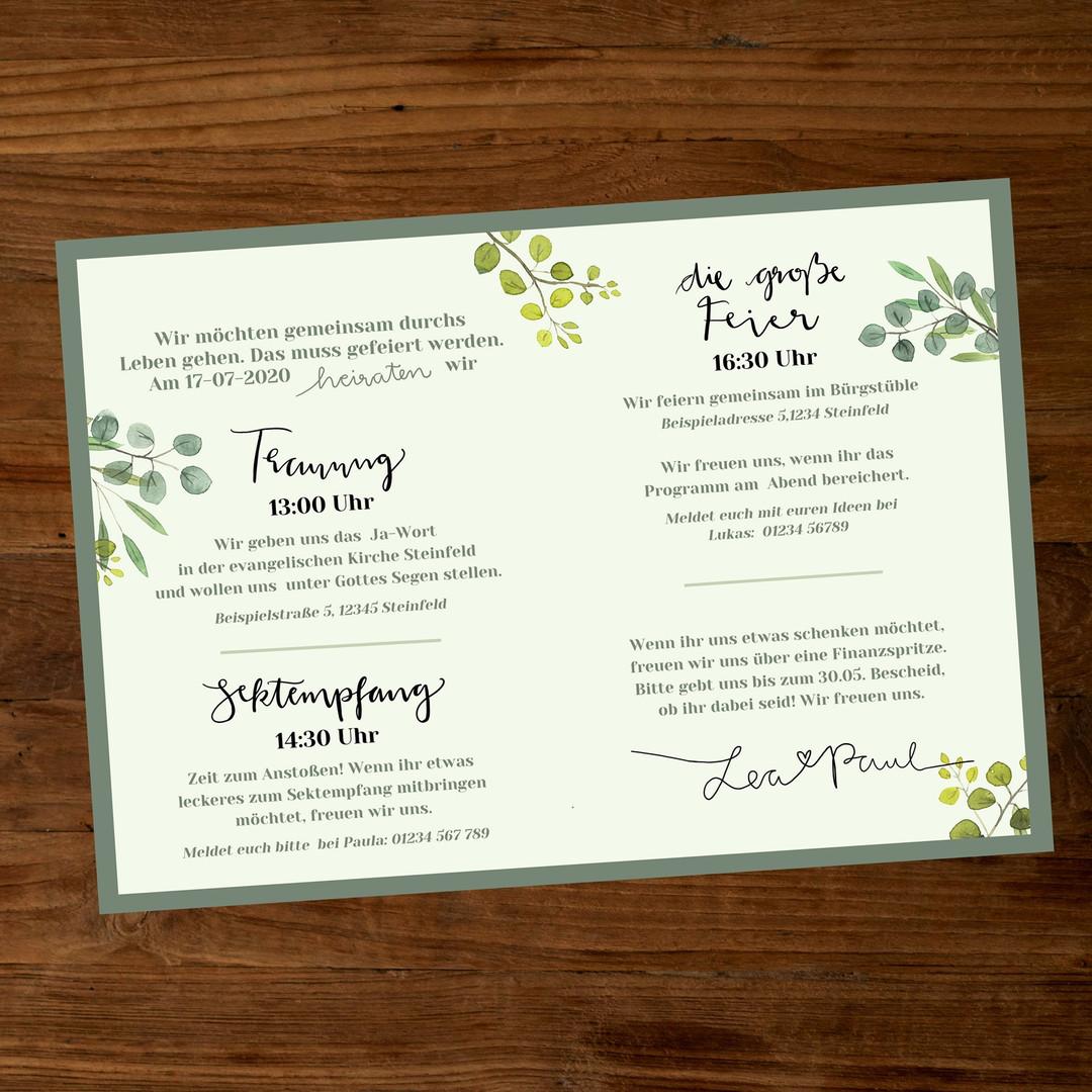 Leaves Hochzeitseinladung innen