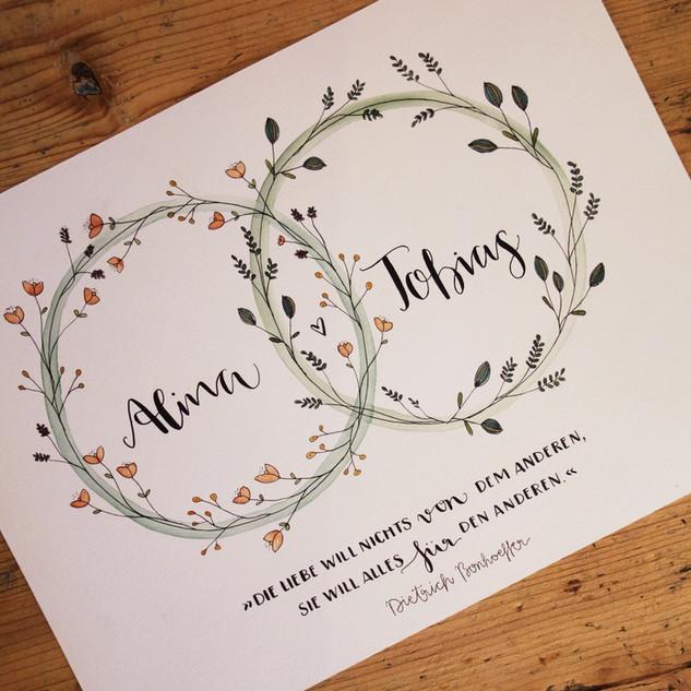 Hochzeit Trauringe und Blumen handgemalt