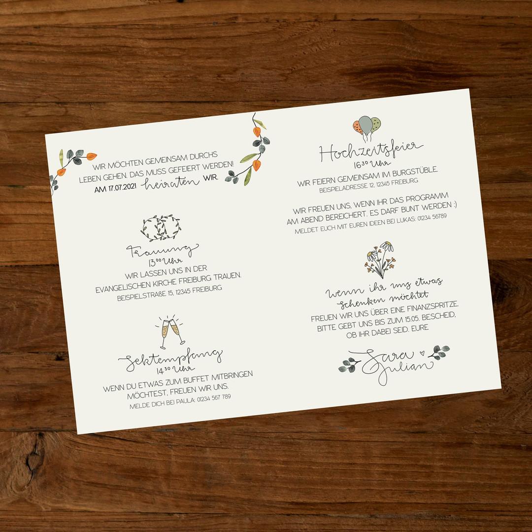 Natural Hochzeitseinladung innen