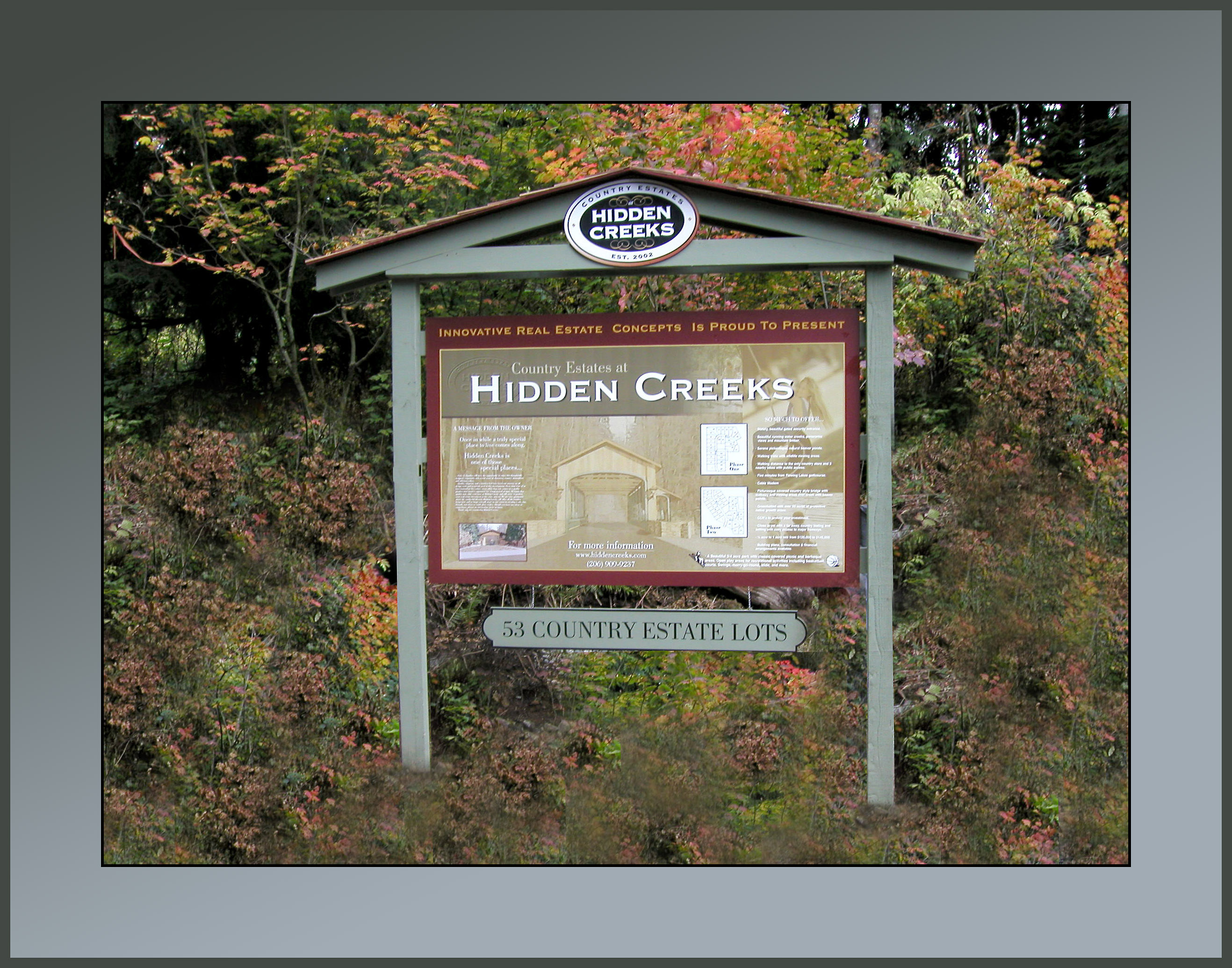 HIDDEN CREEKS Estates sign