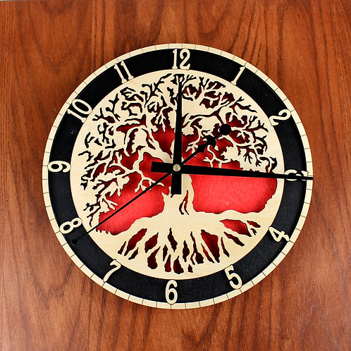 Tree of Life Clock - Red