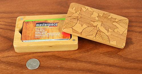 Fall Leaves   Wood Gift Card Holder Box    Laser Engraved