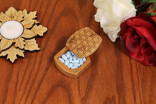 Honey Bee | Natural Wood Magnetic Medicine Box | Laser Engraved