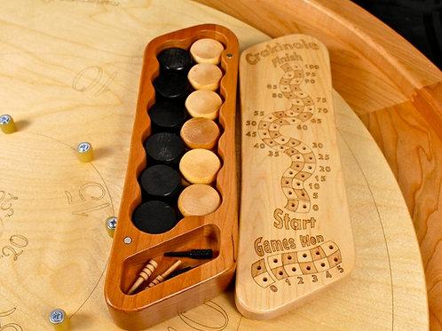 Crokinole Score Box - Hard Maple Top/Cherry Bottom