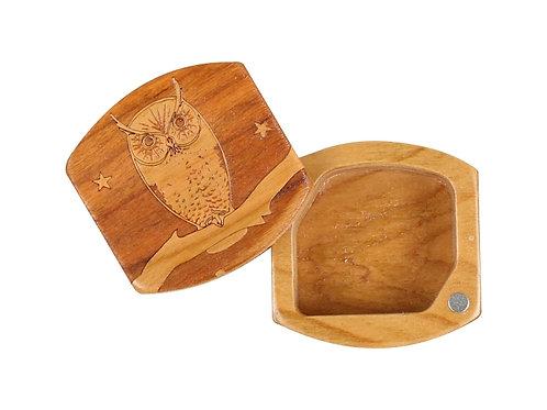 Owl   Magnetic Keepsake Box in Natural Wood   Laser Engraved
