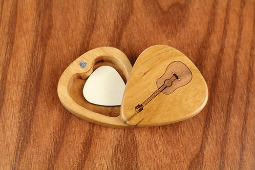 Personalized Wood Guitar Pick Box   Acoustic