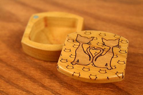 Twin Cats | Small Wood Pocket Box | Laser Engraved