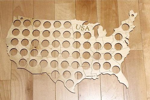Beer Cap Map Wall Art | Map of USA