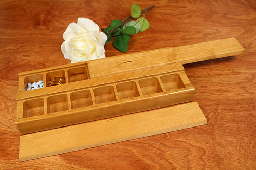 Natural Wood Lid | AM PM 7 Day Pill Holder | Double Jumbo
