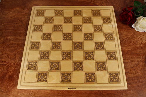 Engraved Wood Checkers Board | Celtic Knot Design
