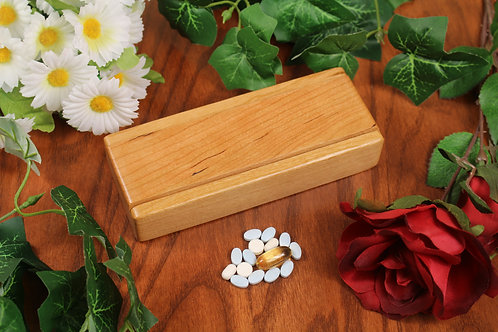 Natural Wood Lid | AM PM 7 Day Pill Case | Single