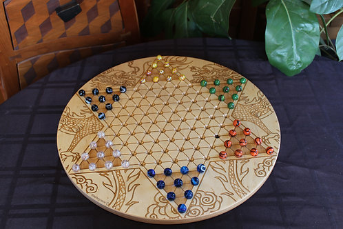 Large Wood Chinese Checkers Board | Dragon Engraving