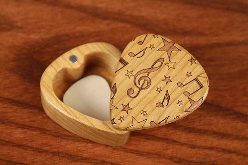 Engraved Plectrum Holder | Music Notes