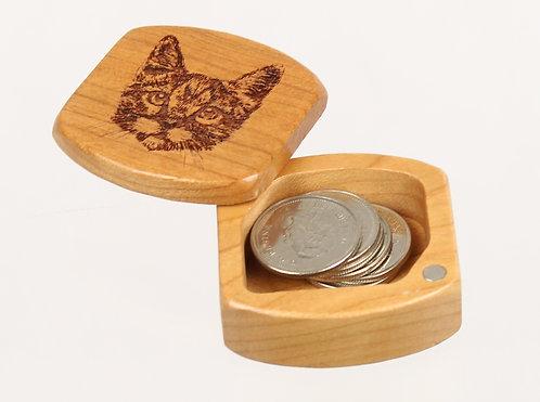 Cat   Natural Wood Magnetic Pocket Box   Laser Engraved