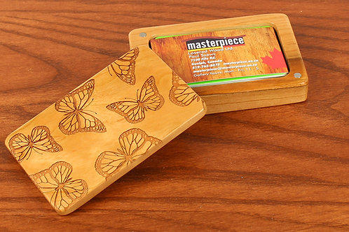 Butterfly   Wood Business Card Holder Box    Laser Engraved