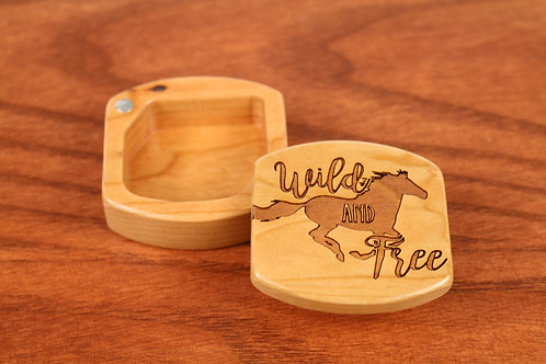 Wild Horse | Small Wood Jewelry Box with Magnet | Laser Engraved