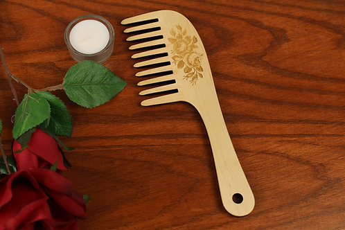 Wooden Hair Comb, Roses, Wide Toothed, Laser Engraved, Solid Hard Maple, Masterp