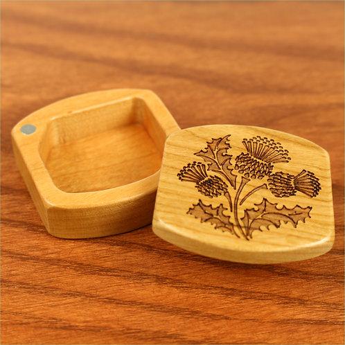 Scottish Thistle | Small Wood Magnetic Treasure Box | Laser Engraved
