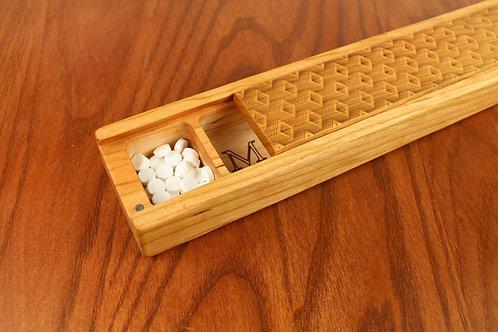 JUMBO Weekly Pill Box, Depth Pattern Solid Cherry Hardwood, Paul Szewc