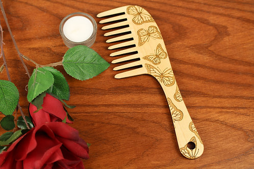 Wooden Hair Comb, Butterflies, Wide Toothed, Laser Engraved, Solid Hard Maple, M