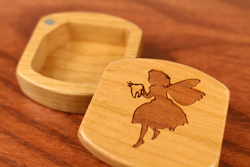Tooth Fairy | Natural Wood Magnetic Treasure Box | Laser Engraved