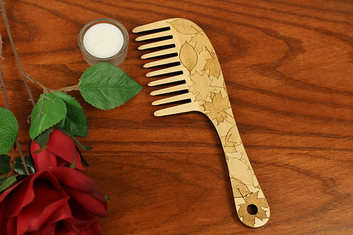 Wooden Hair Comb, Fallen Leaves, Wide Toothed, Laser Engraved, Solid Hard Maple,