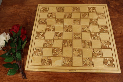 Engraved Wood Chess Board | Fall Leaves Design