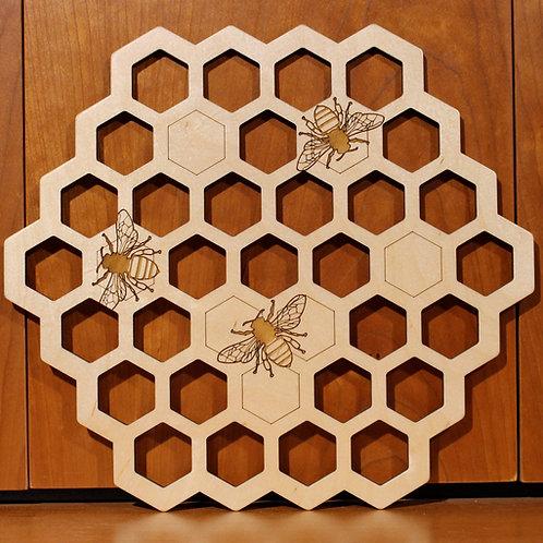 Bee Hive Wall Art - Baltic Birch Plywood
