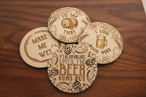 Beer Coasters - Set of 6 - Mix and Match