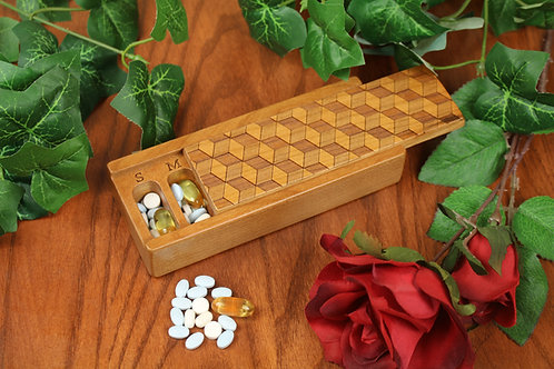 Cube Optical Art Design   7 Day Pill Box   Single