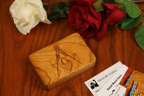 Free Mason | Wood Gift Card Holder Box | Laser Engraved