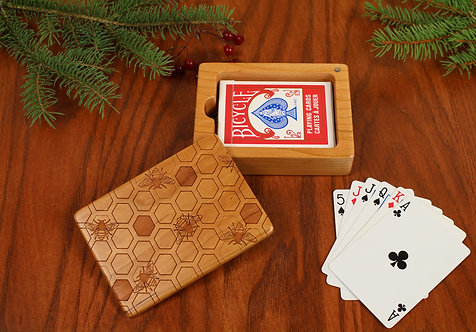 Deck of Cards Box, Bee Pattern, Card Holder, Card Game Box, Solid Cherry
