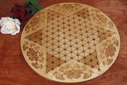 Large Wood Chinese Checkers Board   Flowers Engraving