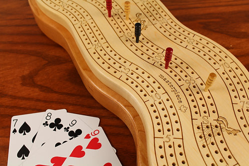 ORDER FOR PAULINE ONLY  3 Player Wonky Cribbage Board