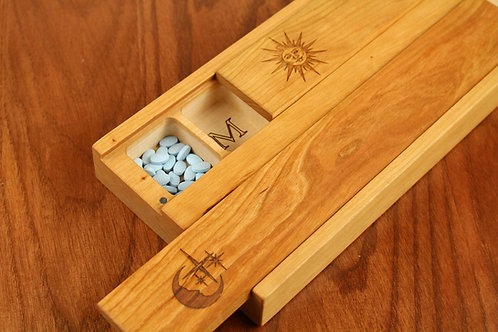 JUMBO Double Weekly Pill Box, Sun&Moon Pattern Solid Cherry Hardwood, Paul Szewc