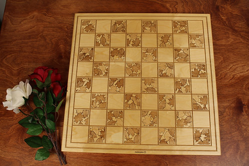 Engraved Wood Checkers Board   Fall Leaves Design