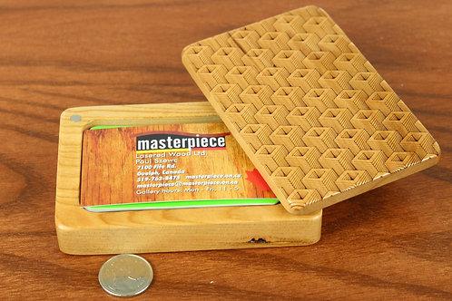 Depth Optical Art   Wood Business Card Holder Box    Laser Engraved