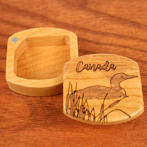 Canada Loon | Small Wood Magnet Box | Laser Engraved